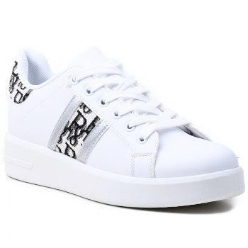 SNEAKERS AB877 WHITE/SILVER