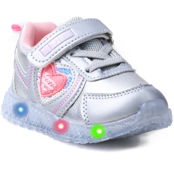 KIDS SHOES WITH LED LIGHT X-9092 SILVER