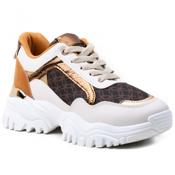 SNEAKERS AB922 WHITE-BROWN